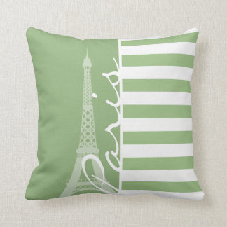 Paris; Laurel Green Horizontal Stripes Cushion
