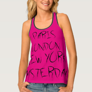 Paris, London, New York, Amsterdam Black Pink Tank Top