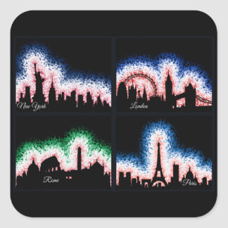 Paris, London, Rome and NYC Square Sticker