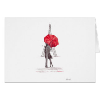 Paris love couple with red umbrella card