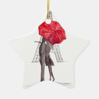 Paris love couple with red umbrella christmas ornament