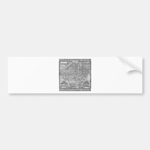 Paris Map 1652 Bumper Stickers