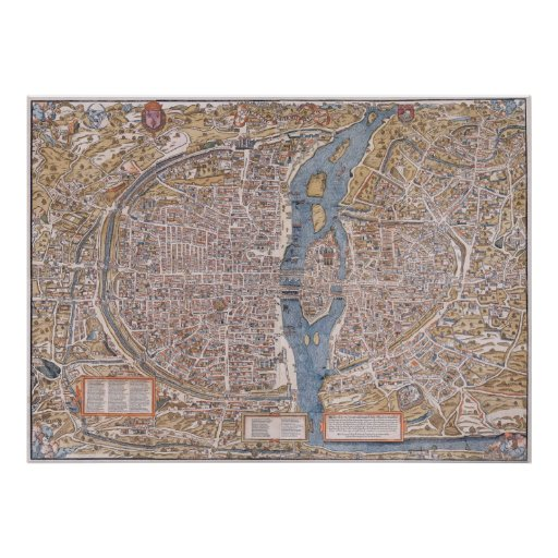 PARIS MAP c. 1555 Poster