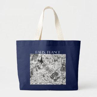 paris map large tote bag