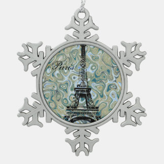 Paris Marble Blue Design Snowflake Pewter Christmas Ornament