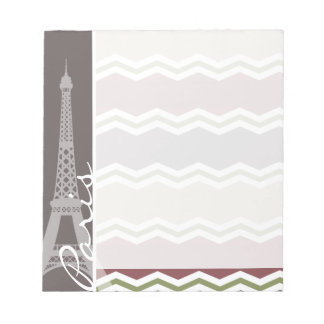 Paris; Maroon, Brown, Tan, & Green Chevron Notepad