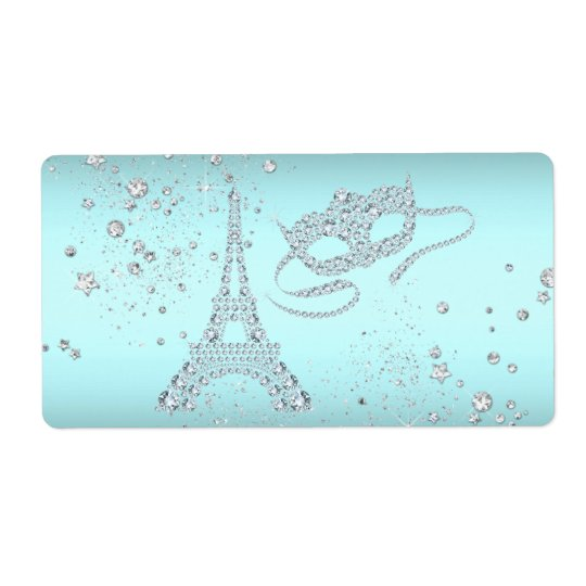 Paris Masquerade Party Water Bottle Labels