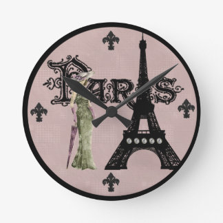 Paris Mauve Round Wall Clock