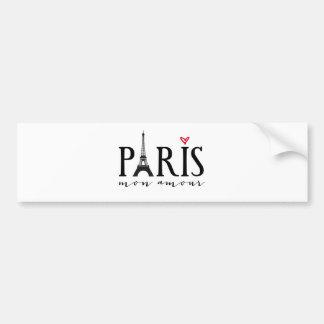 Paris mon amour with Eiffer tower Car Bumper Sticker