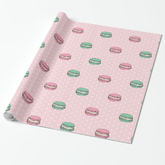Paris Moon Macaron and polkadots Wrapping Paper