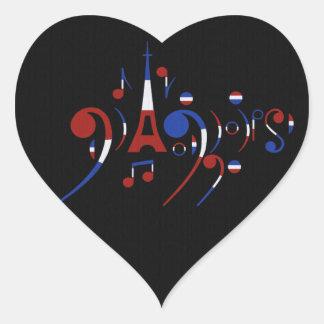 Paris Musical Notes Heart Sticker