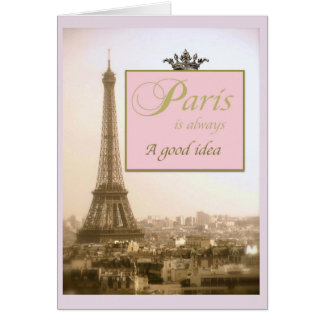 Paris notecards with Eiffel Tower and quote Card