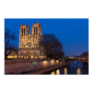 Paris - Notre Dame during Twilight Poster