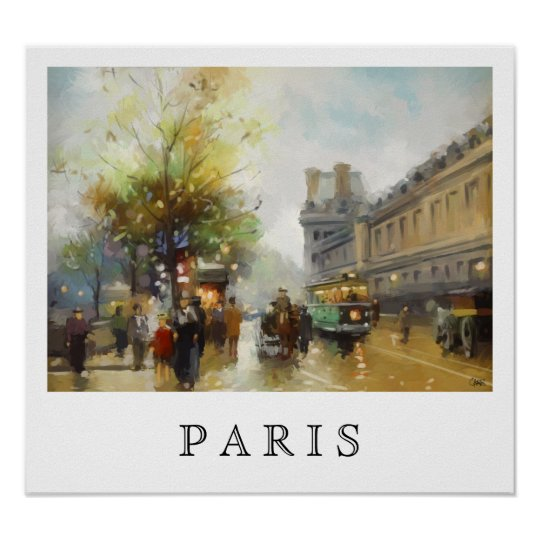 Paris on a Rainy Day. Watercolor Painting. Poster