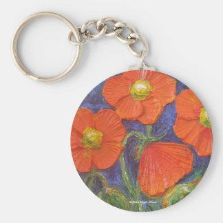 Paris' Orange Poppies Basic Round Button Key Ring
