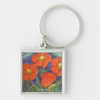 Paris' Orange Poppies Silver-Colored Square Key Ring