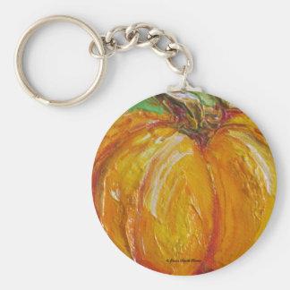 Paris' Orange Pumpkin Basic Round Button Key Ring