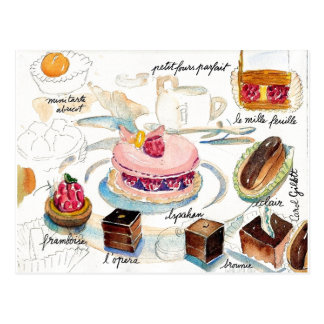 Paris Pastry Sketch watercolor Postcard