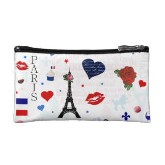 Paris pattern with Eiffel Tower Cosmetic Bag