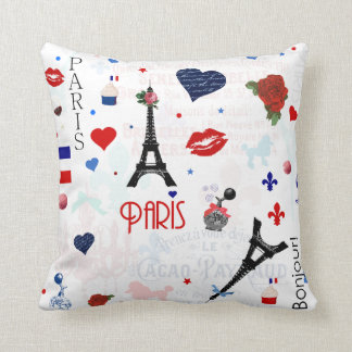 Paris pattern with Eiffel Tower Cushion