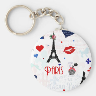 Paris pattern with Eiffel Tower Key Ring