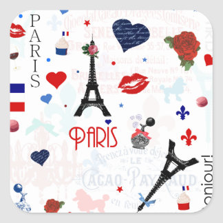 Paris pattern with Eiffel Tower Square Sticker