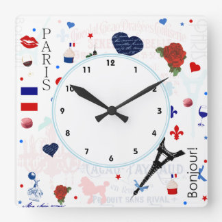 Paris pattern with Eiffel Tower Square Wall Clock