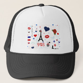 Paris pattern with Eiffel Tower Trucker Hat