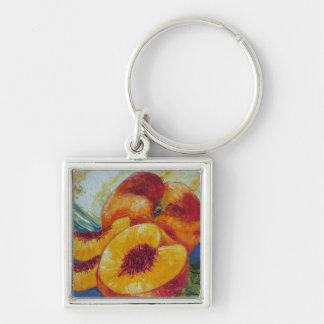 Paris' Peach Silver-Colored Square Key Ring