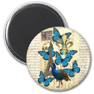 Paris, peacock and butterflies 6 cm round magnet