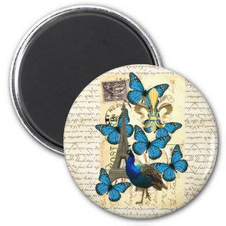 Paris, peacock and butterflies 6 cm round magnet