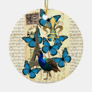 Paris, peacock and butterflies christmas ornament