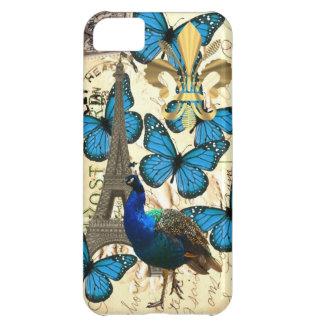 Paris, peacock and butterflies iPhone 5C case