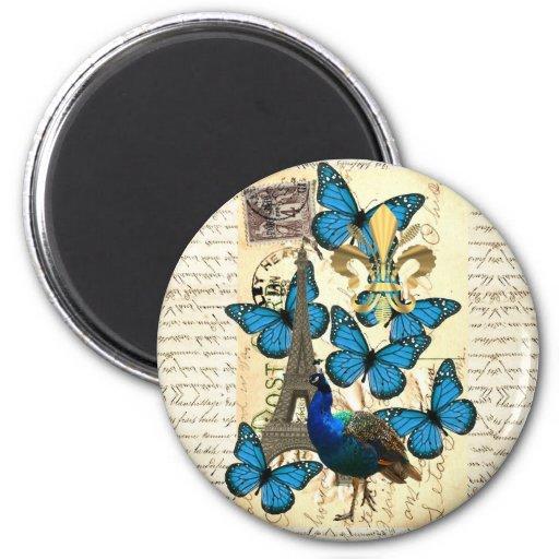 Paris, peacock and butterflies refrigerator magnet