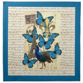 Paris, peacock and butterflies napkin