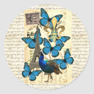 Paris, peacock and butterflies round sticker