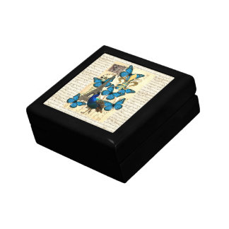 Paris, peacock and butterflies small square gift box