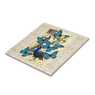 Paris, peacock and butterflies tile