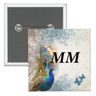 Paris peacock collage 15 cm square badge