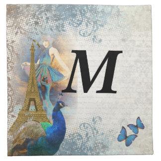 Paris peacock collage napkin