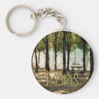 Paris Picnic Park on Avenue des Champs-Elysees Basic Round Button Key Ring