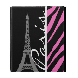 Paris; Pink & Black Zebra Print iPad Folio Cover
