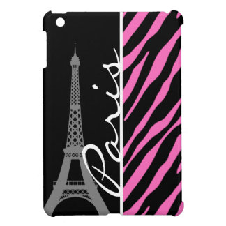 Paris; Pink & Black Zebra Print iPad Mini Covers