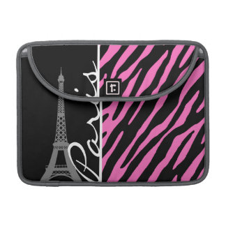 Paris; Pink & Black Zebra Print Sleeve For MacBook Pro
