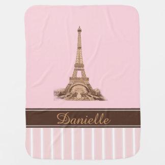 Paris Pink Brown Personalized Baby Blanket