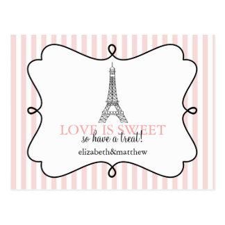 Paris Pink Candy Buffet Signs Postcard