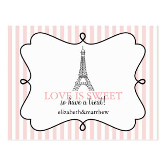 Paris Pink Candy Buffet Signs Postcards