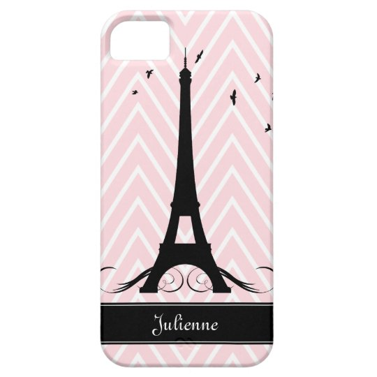 Paris Pink Chevrons Eiffel Tower iPhone 5 Case