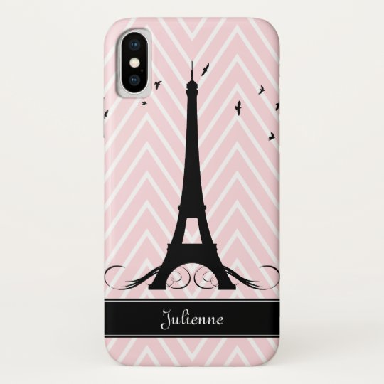 Paris Pink Chevrons Eiffel Tower iPhone X Case