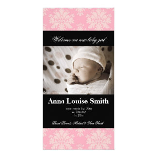 Paris Pink Damask Birth Announcement Cards Customized Photo Card